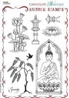 Chocolate Baroque Serenity Rubber Stamp